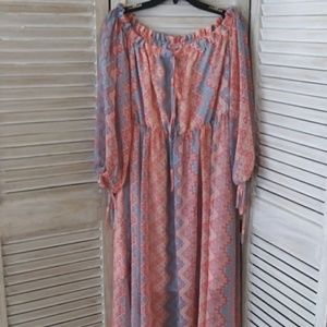 Dresses & Skirts - Blush & blue Dress 2X Peace Love Maxi dress